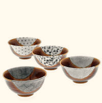 Bowl/4 Amber/Blue Textile Crests