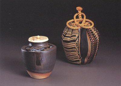 Black and White Cascading Glaze Tea Caddy