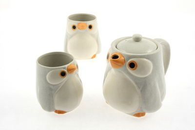 Tea Set 1:2 Grey/Orange Penguin