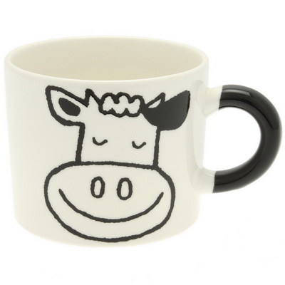 Mug Clr Hndl Black Cow