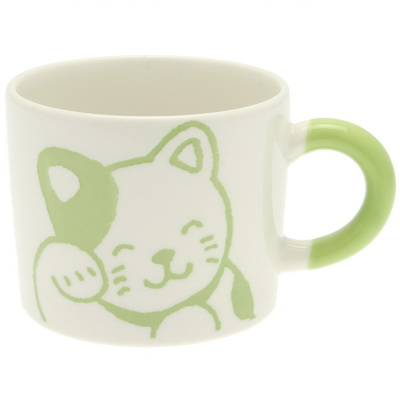 Mug Clr Hndl Yel-Grn Happy Cat