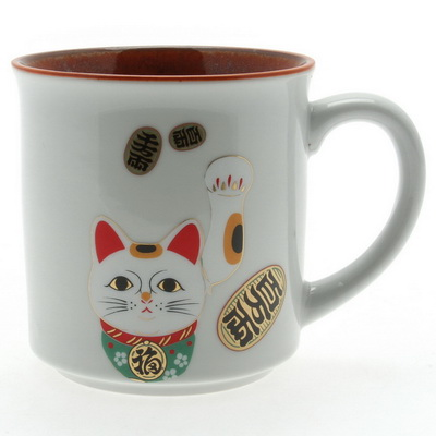Mug White/Red Beckoning Cat