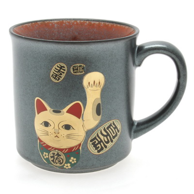 Mug Iron Black/Gold Beckoning Cat