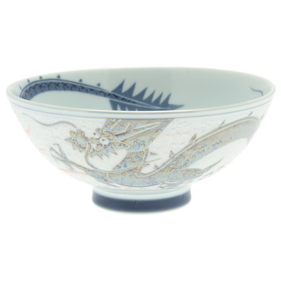 Bowl Silver/Blue Pearl Dragon