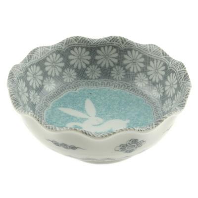 Bowl Grey Floral Rabbit 4-1/2