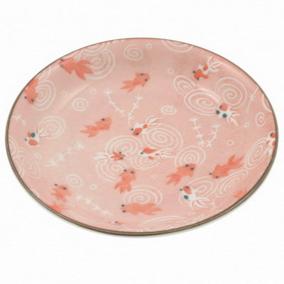 Plate Pansy Pink Goldfish-S