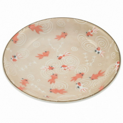 Plate Tea Brown Goldfish-S