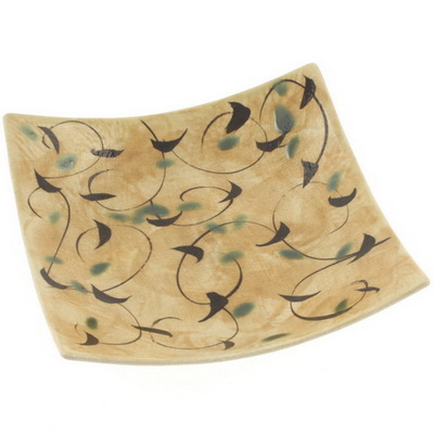 Plate Sq Gold/Taupe Arabesque-M
