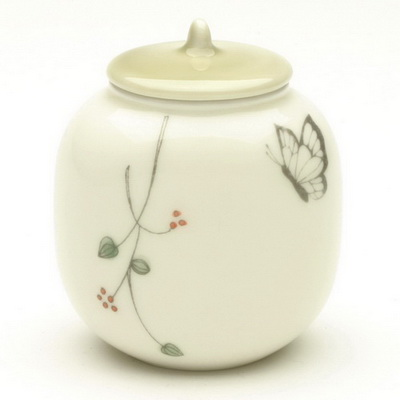 Tea Caddy Cream/Green Butterfly