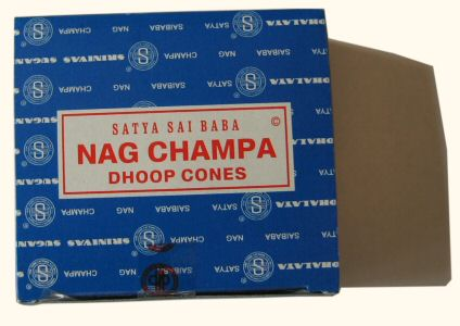 Nag Champa Incense, Box of 12 Dhoop Cones w/Stand