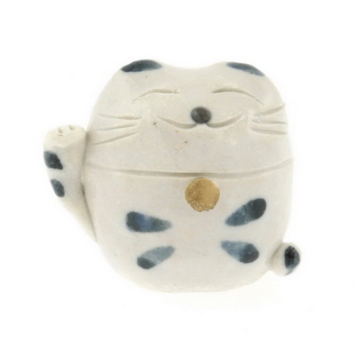 Paperweight Wht/Blu Beckoning Cat