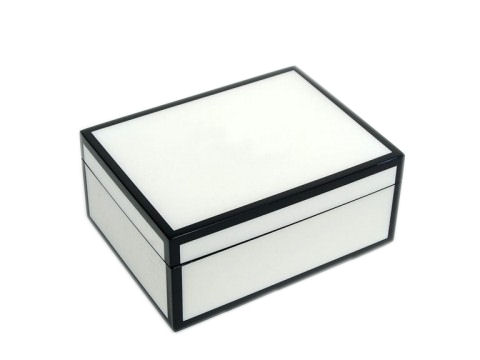 Five Sides White and Black Medium Lacquer Box