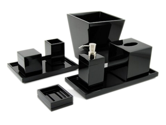 All Black Lacquer Brush Holder - Click Image to Close