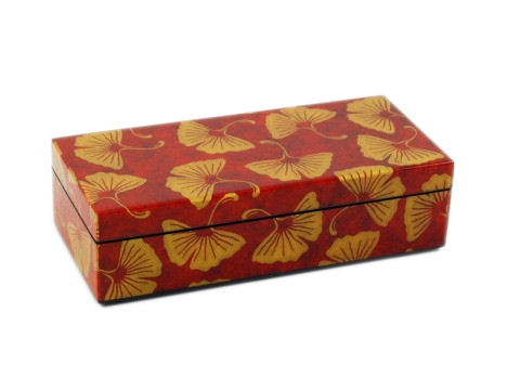 Pencil Box, Golden Gingko Inlay with Brown Lacquer