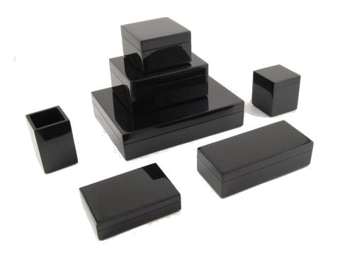 All Black Lacquer Large Square Serving Tray - Click Image to Close