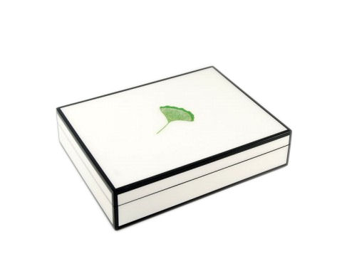 Stationery Box, Ginkgo Leaf Inlay with White Lacquer