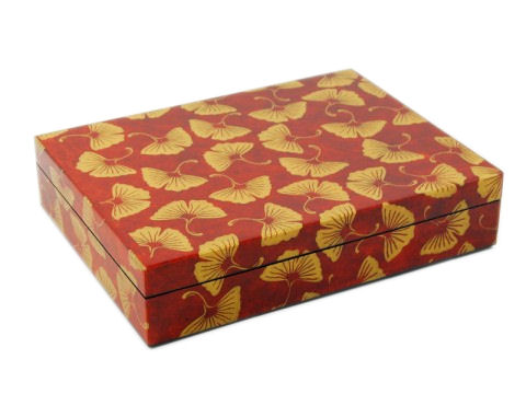 Stationery Box, Golden Gingko Inlay with Brown Lacquer