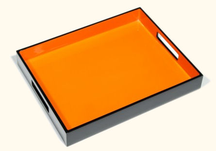 Reiko Serving Tray, Orange with Black Lacquer
