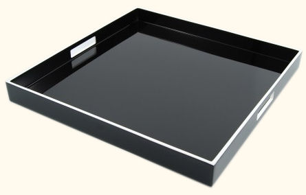 Black Lacquer with White Trims Square Serving Tray