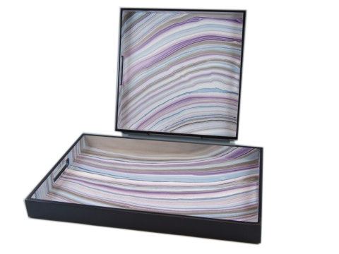 Lavender Lacquer Square Serving Tray - Click Image to Close
