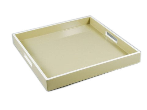 Taupe with White Trims Square Serving Tray