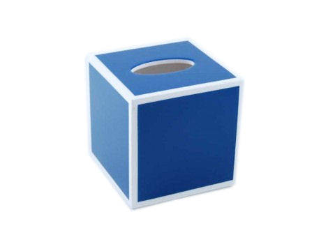 True Blue with White Trims Lacquer Cube Tissue Box Cover