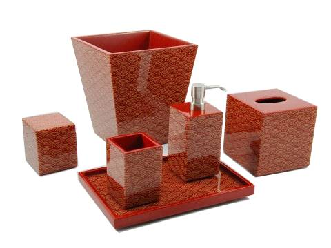 Red Wave Inlay Cube Tissue Box Cover - Click Image to Close