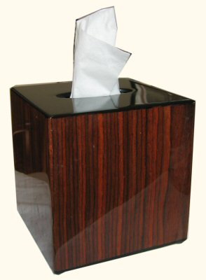 Rosewood Inlay Cube Tissue Box Cover