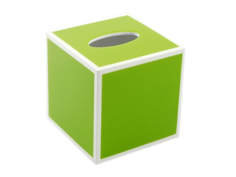 Acid Green Inlay with White Cube Tissue Box Cover