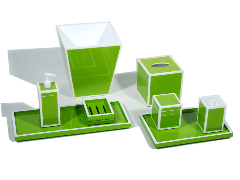 Acid Green Inlay with White Lacquer Cube Tissue Box Cover - Click Image to Close