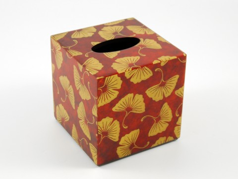Golden Ginkgo Paper Inlay w/Brown Lacquer Cube Tissue Box Cover