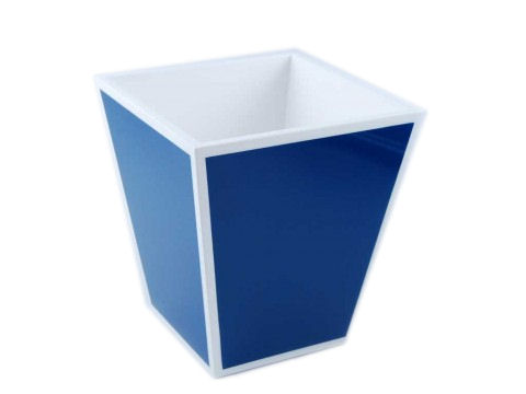 True Blue with White Trims Lacquer Waste Basket