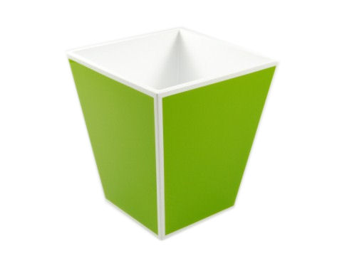 Acid Green with White Trims Lacquer Square Waste Basket