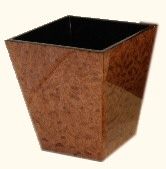 Walnut Burl Inlay Square Waste Basket