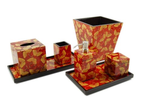Golden Ginkgo Paper Inlay with Brown Lacquer Square Waste Basket - Click Image to Close