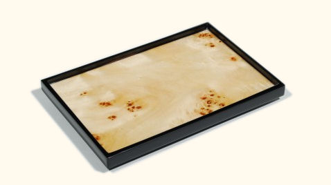 Vanity Tray w/Mappa Burl Inlay & Black Lacquer