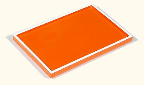 Orange with White Trims Lacquer Vanity Tray