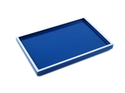 True Blue with White Trims Lacquer Vanity Tray