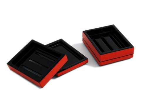 Red Tulipwood Inlay with Black Lacquer Soap Dish