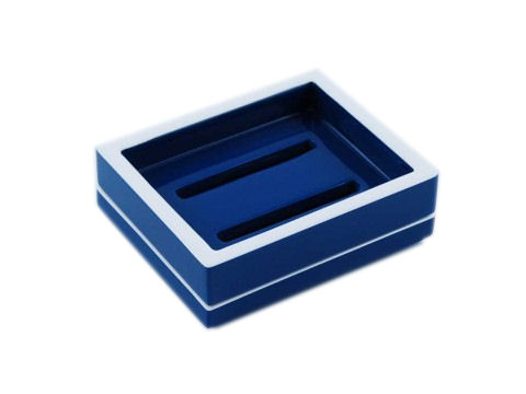 True Blue with White Trims Lacquer Soap Dish
