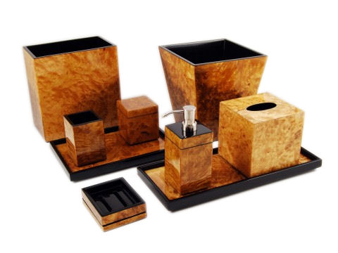 Walnut Burl Inlay Lacquer Q-Tip Box - Click Image to Close
