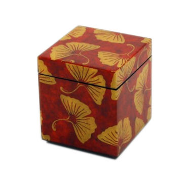 Golden Ginkgo Paper Inlay with Brown Lacquer Q-Tip Box
