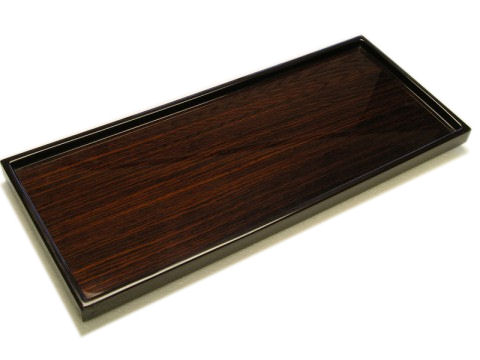 Rosewood Inlay with Brown Lacquer Long Vanity Tray