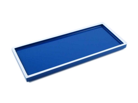 True Blue with White Trims Lacquer Long Vanity Tray
