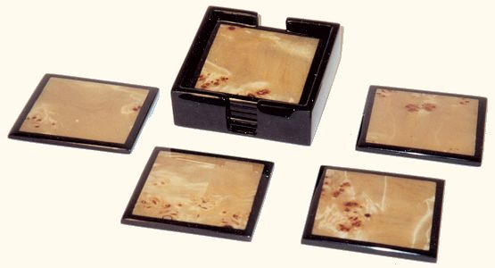 Mappa Burl Inlay/Black Lacquer Coasters, Set of 4 w/holder