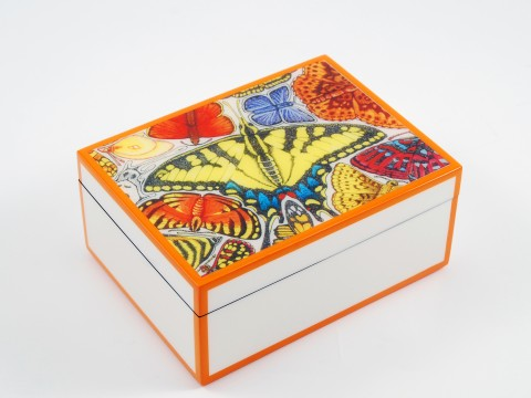 Orange and White with �Butterfly� Medium Box