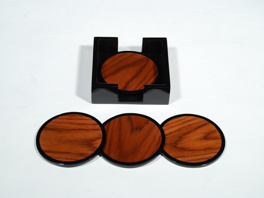 Round Rosewood Inlay/Black Lacquer Coasters, Set of 4 w/Holder