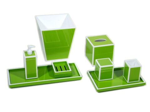 Acid Green with White Trims Lacquer Brush Holder - Click Image to Close