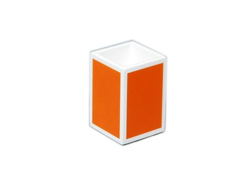 Orange with White Trims Lacquer Brush Holder