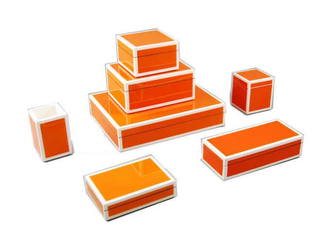 Orange with White Trim Lacquer Brush Holder - Click Image to Close